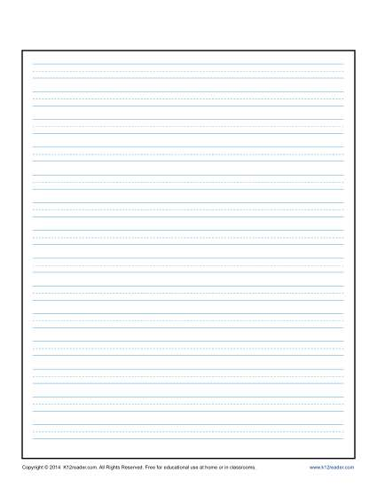 Lined Writing Paper for Kids Printable Template - print lined writing paper