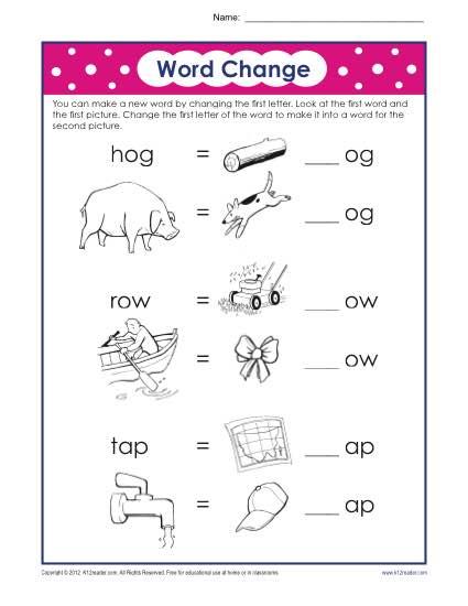 Letter Substitution Worksheet Phonics Worksheets - phonics worksheet
