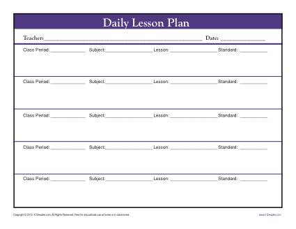 Daily Muti-Class Lesson Plan Template with Period - Secondary - class template