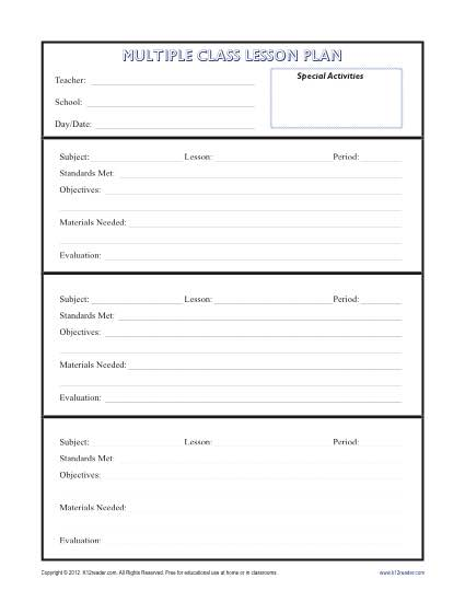 Daily Multi-Class Lesson Plan Template - Secondary