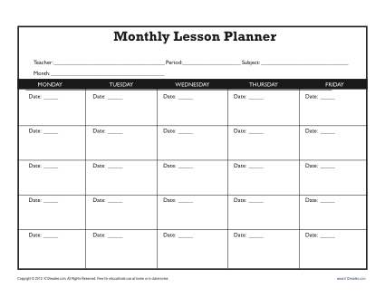 Monthly Lesson Plan Template - Secondary - lesson plan outline
