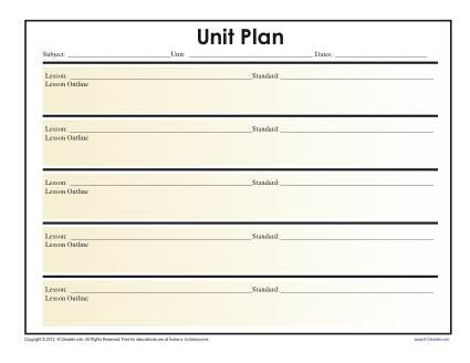Simple Unit Lesson Plan Template - Reading Worksheets, Spelling