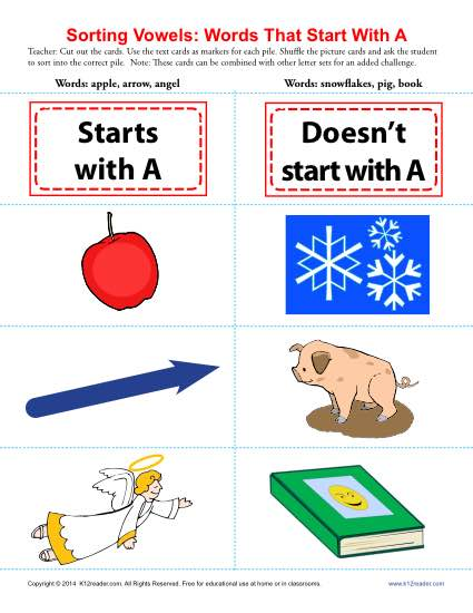 Words Starting With A Beginning Vowel Worksheets - word with the letters