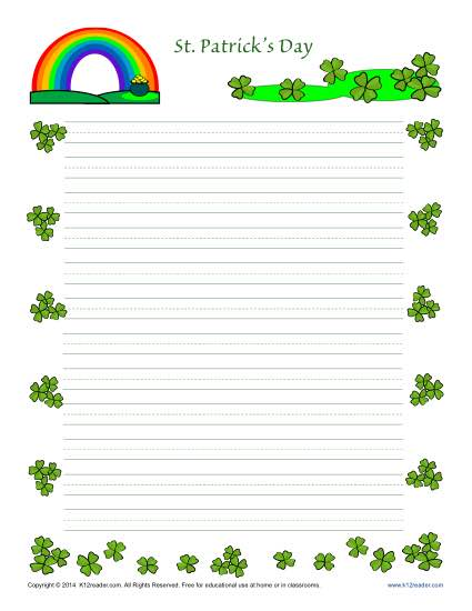 St Patrick\u0027s Day Printable Lined Writing Paper