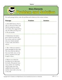 Story Elements Worksheet: Problem and Solution