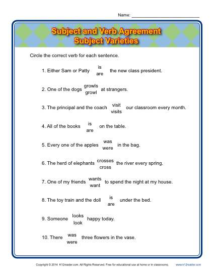 Subject Varieties Subject Verb Agreement Worksheets