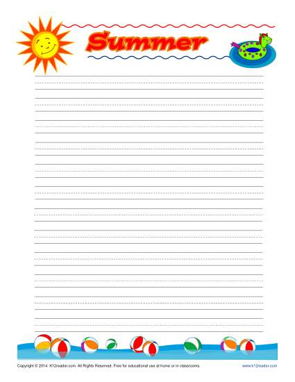 Summer Printable Lined Writing Paper - print lined writing paper