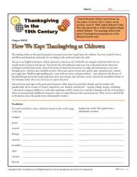 Thanksgiving in the 19th Century | Comprehension Worksheet