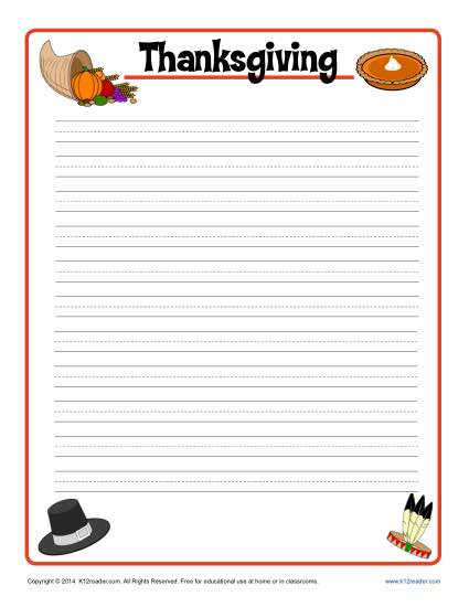 Thanksgiving Printable Lined Writing Paper - blank writing sheet