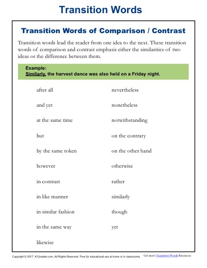 Transition Words and Phrases - Lists and Worksheets - K12reader
