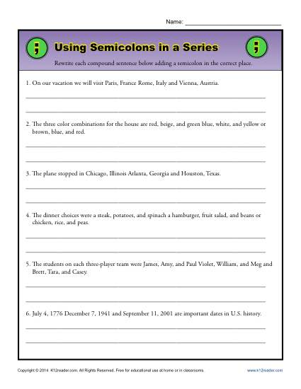 Using Semicolons in a Series Semicolon Worksheet