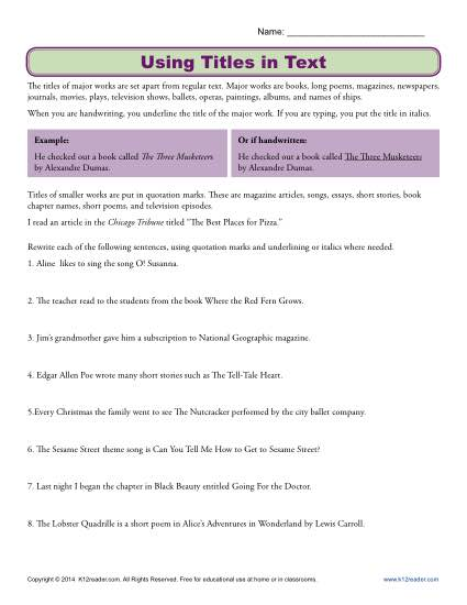 Using Titles in Text Worksheet Activity