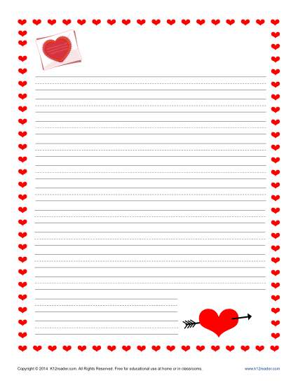 Valentine\u0027s Day Writing Paper for Kids Free Printable Templates - printable letter paper with lines
