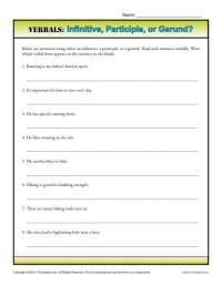 Verbals: Infinitive, Participle or Gerund? | Verbal Worksheets