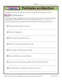 Participles as Adjectives | Verbal Worksheets