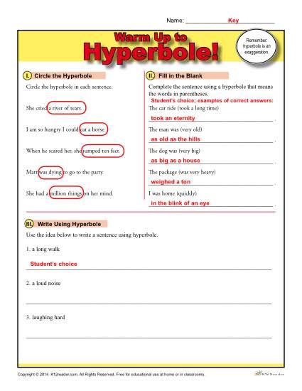 Hyperbole Warm Up Activity Figurative Language Worksheets