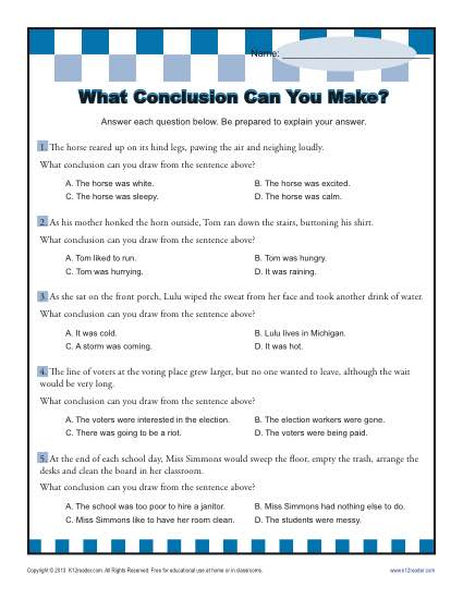 What Conclusion Can You Make? Conclusion Worksheets