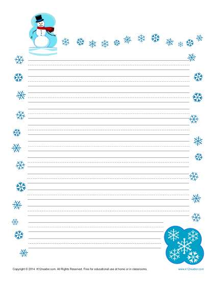 Winter Printable Lined Writing Paper - print lined writing paper