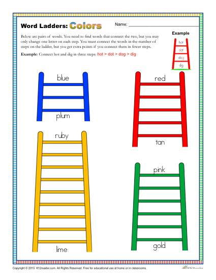 Colors Word Ladders Worksheet for 2nd, 3rd and 4th Grade
