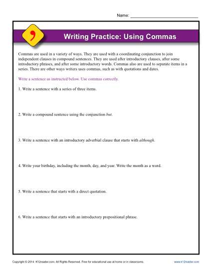 Writing Practice Using Commas Punctuation Worksheets