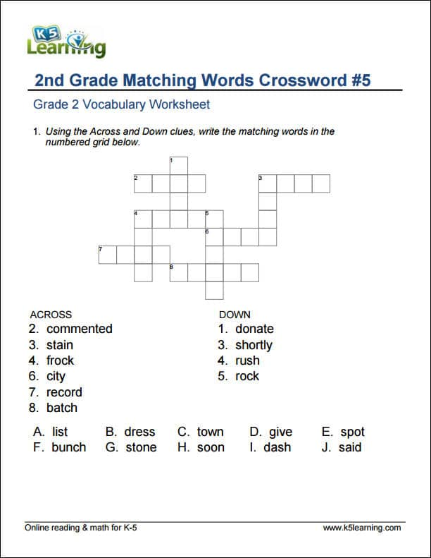 2nd Grade Vocabulary Worksheets \u2013 printable and organized by subject