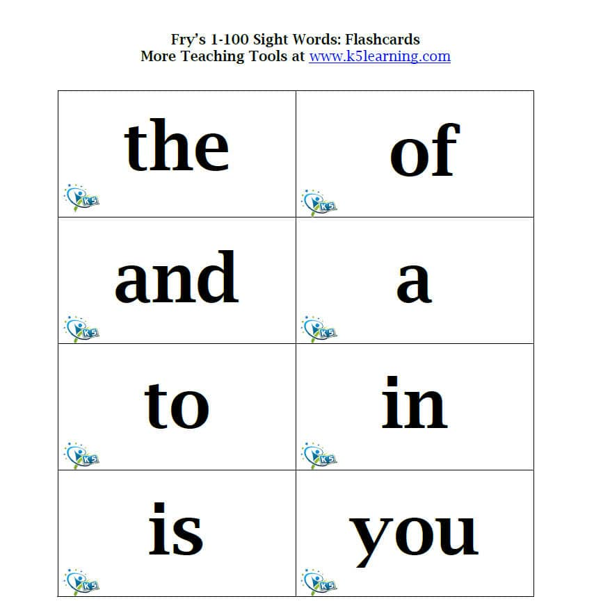 Fry Sight Words Flashcards K5 Learning