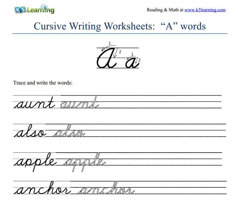 Worksheets Cursive Writing Grade 2 cursive learn letters