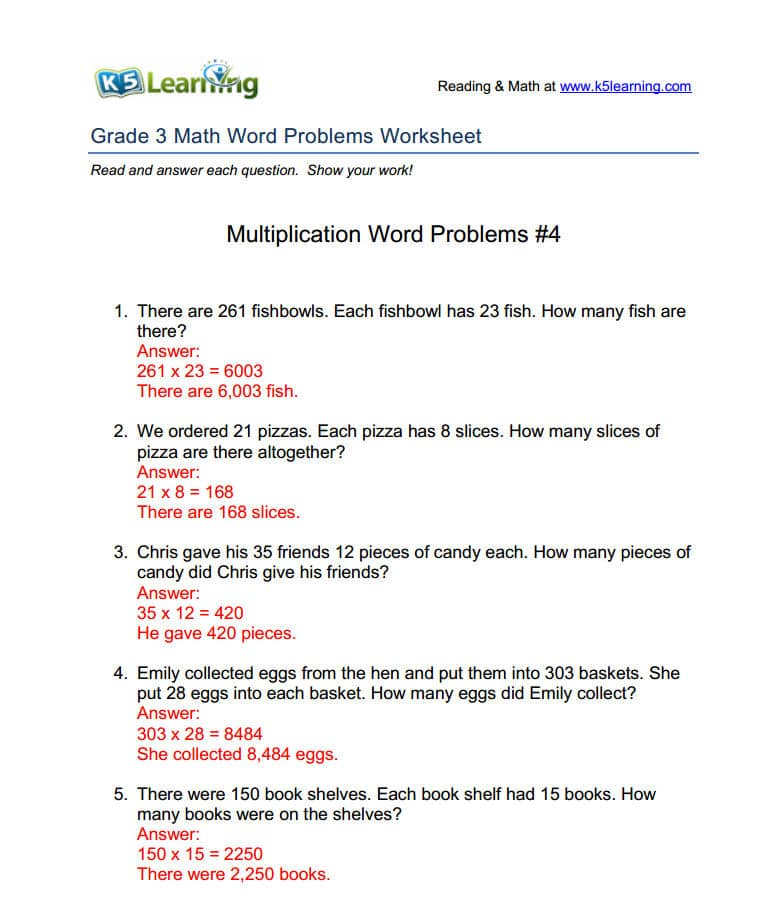 K5 Provides Answers to Math Word Problems Worksheets - sample word problem worksheets