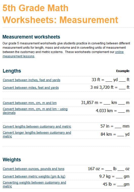 Grade 5 Measurement Worksheets - free  printable K5 Learning