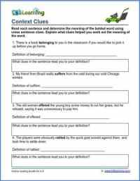 Grade 3 vocabulary worksheet - context clues | K5 Learning