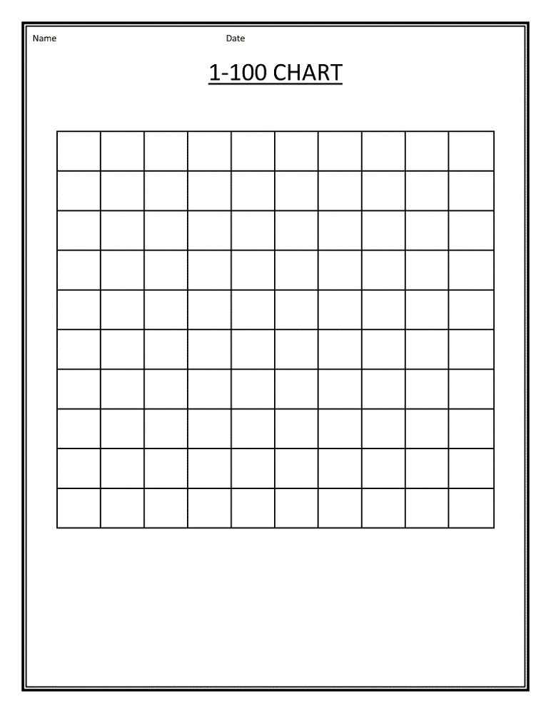 blank number chart 1-100 printable K5 Worksheets