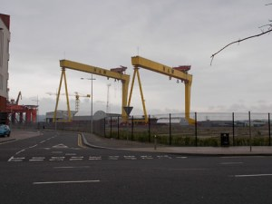 Harland and Wolf Cranes.   They are among the biggest construction cranes in the world.