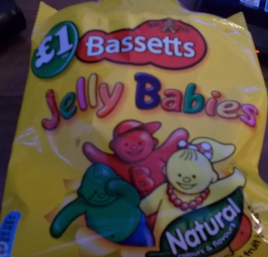 A packet of Jelly Babies