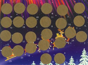 Postcard Advent Calendar. Scratch-off stickers cover the image. Scratch them off one at a time to reveal the whole picture.