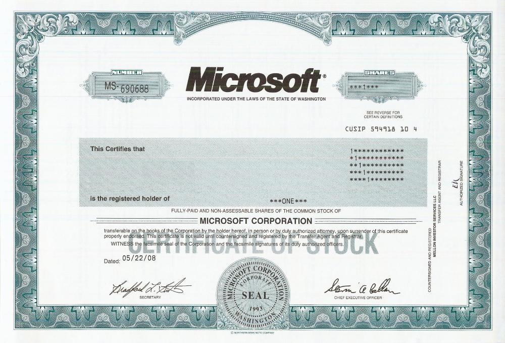 Microsoft Stock Certificate