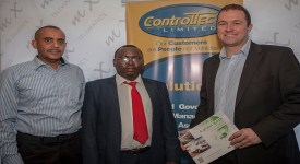 From left, Ali Talib of Control Tech, Dr Duncan Kabogong Assistant Director NTSA and Mix Telematics MD Brendan Horan during the launch of mic telematics in Kenya