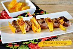Plancha canard - Brochettes magret de canard à l'orange - Menu Paques
