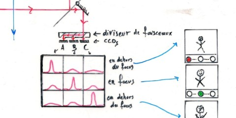 Zasada działania systemu AF z detekcją kontrastu. Obrazek zapożyczony z serwisu wikipedia.org.