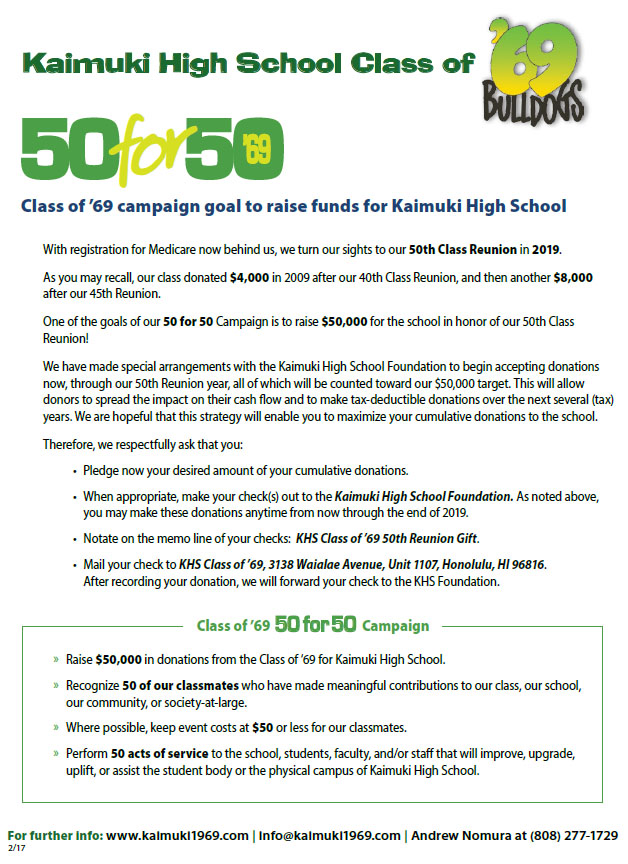 Kaimuki High School Class of 1969 - Click here to download the