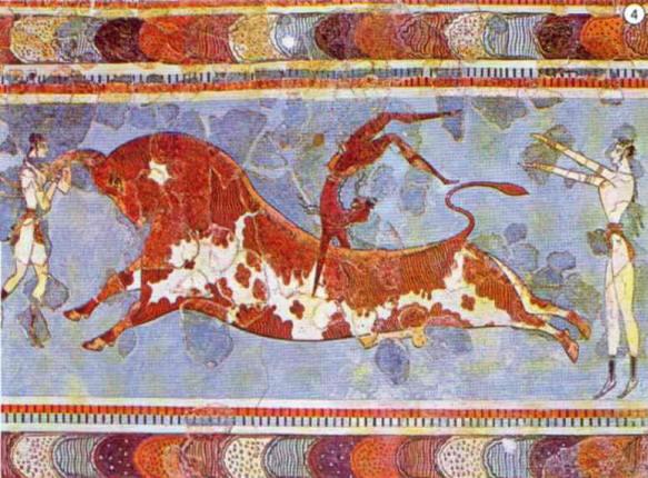 Giochi acrobatici con il toro - 1600 a.C. dipinto palazzo di Cnosso, Creta