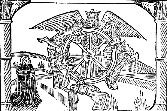 fortune wheel, woodcut