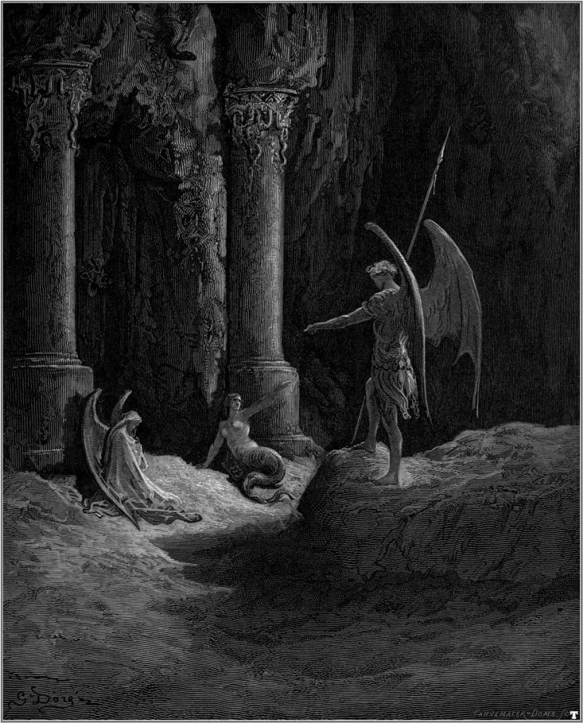 SATAN SPEAKS WITH SIN AND DEATHPARADISE LOST GUSTAVE DORE