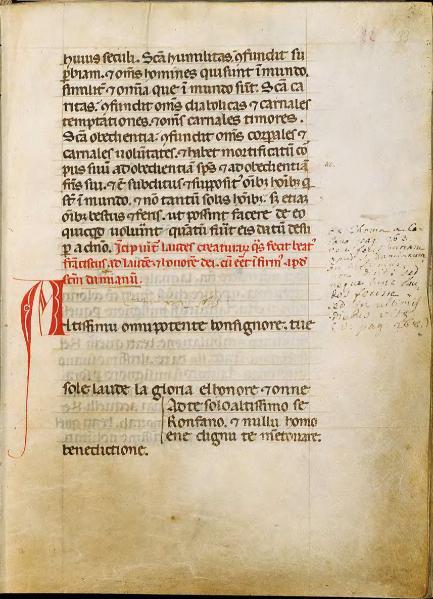 La più antica stesura del Cantico di Francesco che si conosca, quella riportata nel Codice 338, f.f. 33r - 34r, sec. XIII, custodito nella Biblioteca del Sacro Convento di San Francesco, Assisi