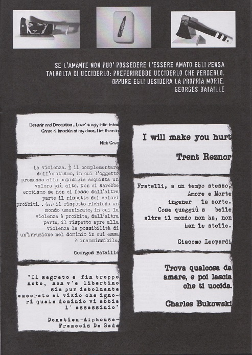 Fanzine Unknown Pleasures, numero 1, Love kills, grafiche Valentina Mangieri, direz.art.LST,p1