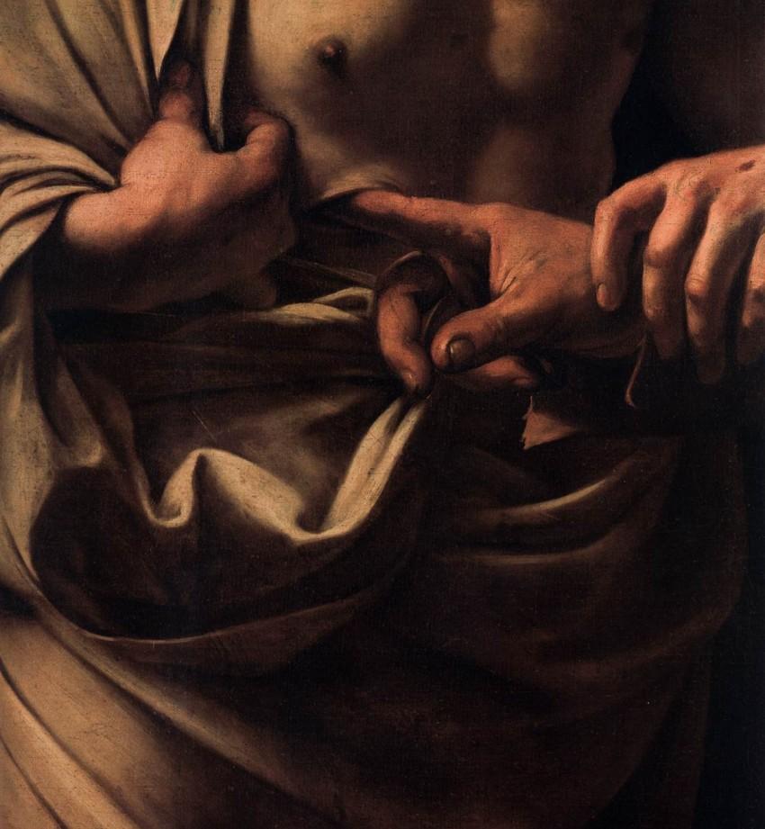 Caravaggio, Incredulità di San Tommaso, dettaglio 1600- 1601-Potsdam, Bildergalerie