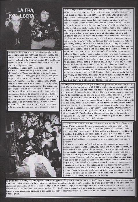Fanzine Unknown Pleasures numero uno, Tu Quoque Punk - la Fra, grafiche Valentina Mangieri, direz.artistica LST