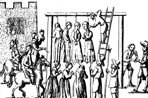 An image of suspected witches being hanged in England, published in 1655