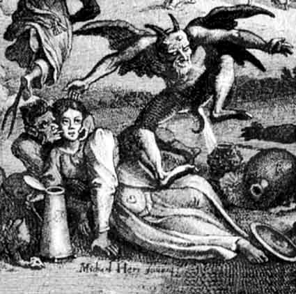 after michael herr etched by matthaeus merian the elder, zueberey, or sabbath on the blocksberg, 1626, detail