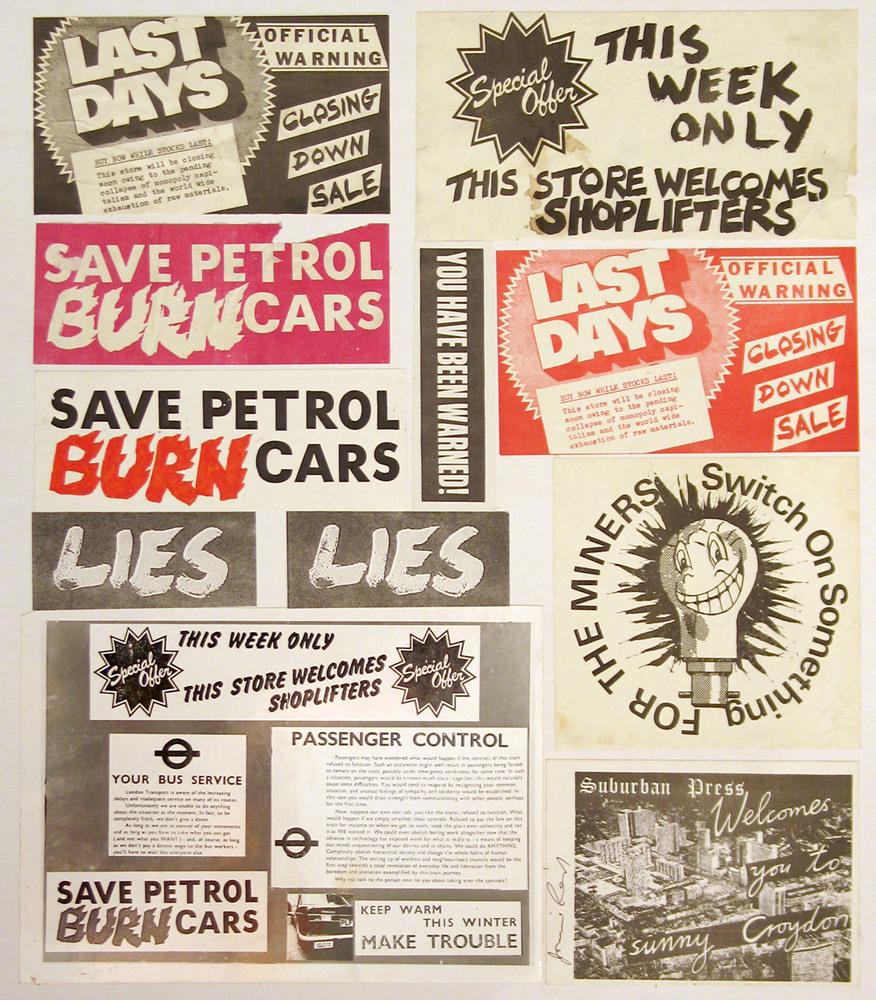 Jamie Reid, sticker_collage, Suburban Press