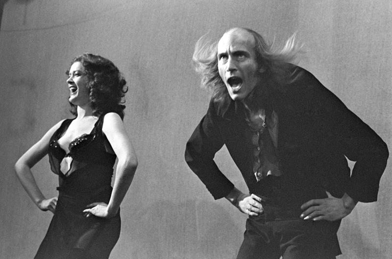 Magenta (Patricia Quinn) and Riff Raff (Richard O'Brien) do the Timewarp in 'The Rocky Horror Show', 1973
